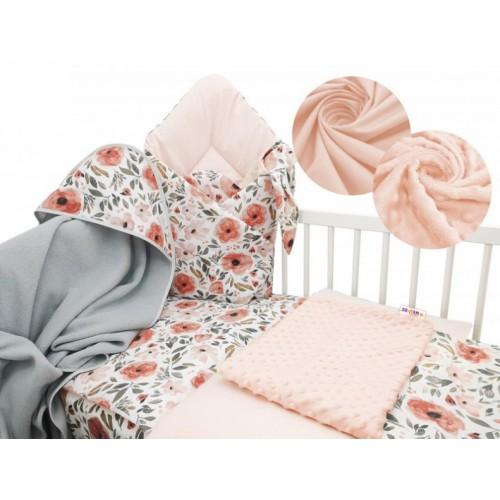 Baby Nellys 6-dielna výhodná súprava pre bábätko s darčekom, 120 x 90 cm - Begónie - 120x90
