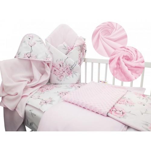 Baby Nellys 6-dielna výhodná súprava pre bábätko s darčekom, 120 x 90 cm - Plameňák - 120x90