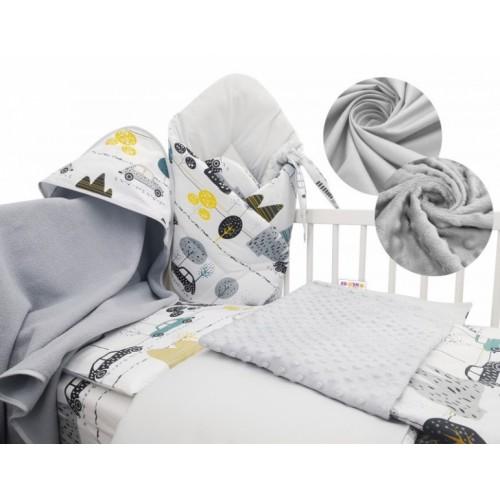 Baby Nellys 6-dielna výhodná súprava pre bábätko s darčekom, 135x100cm - Auta v aleji - 135x100