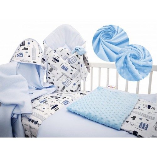 Baby Nellys 6-dielna výhodná súprava pre bábätko s darčekom, 135 x 100cm - Auta ve městě - 135x100
