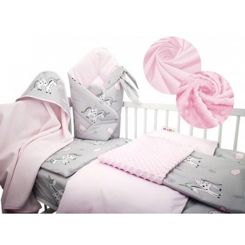 Baby Nellys 6-dielna výhodná súprava pre bábätko s darčekom, 120 x 90cm - Unicor, rúžový - 120x90