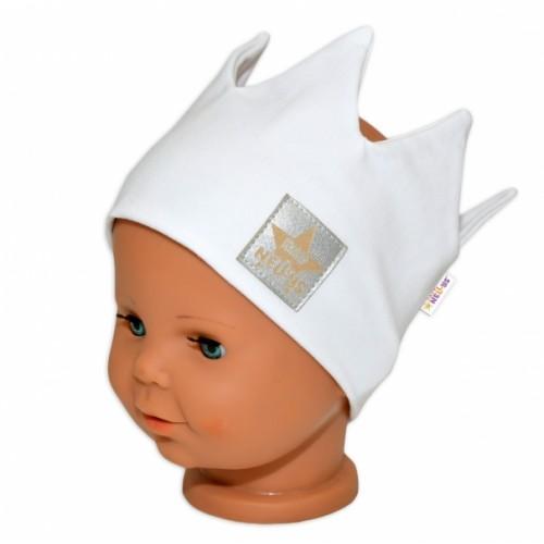 Baby Nellys Hand Made Bavlnená čelenka - dvojvrstvová, Korunka - biela, 44-48cm, 3-7let - 3-7 let