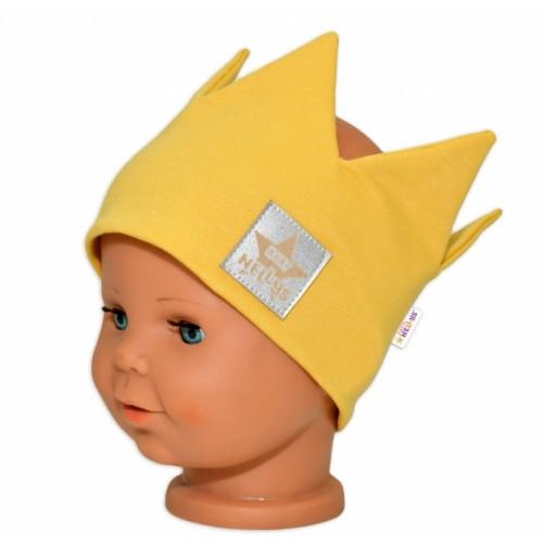 Baby Nellys Hand Made Bavlnená čelenka - dvojvrstvová, Korunka - horčicová, 104/116  - 104-116 (4-6r)