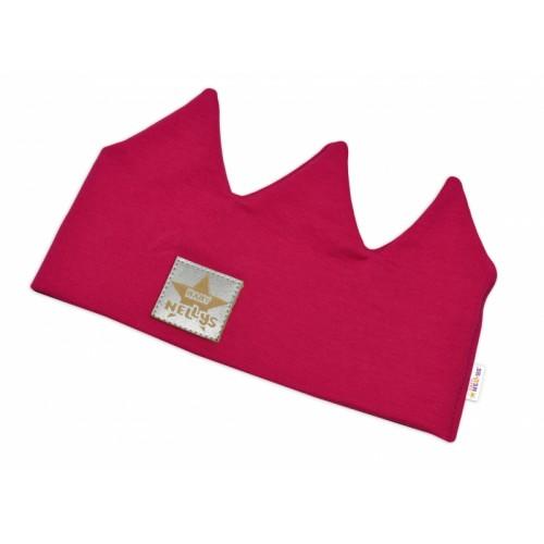 Baby Nellys Hand Made Bavlnená čelenka, dvojvrstvová, Korunka - tm. růžová, 3-7let - 44/48 čepičky obvod