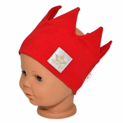 Baby Nellys Hand Made Bavlnená čelenka, dvojvrstvová, Korunka - červená, 104/116 - 104-116 (4-6r)