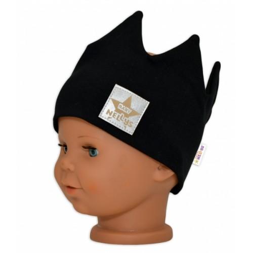 Baby Nellys Hand Made Bavlnená čelenka - dvojvrstvová, Korunka - čierna, 44-48 cm, 3-7let - 44/48 čepičky obvod