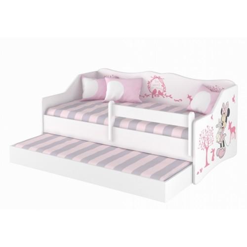 Babyboo Detská posteľ LULU 160 x 80 cm - biela Minnie Zveratka - 160x80