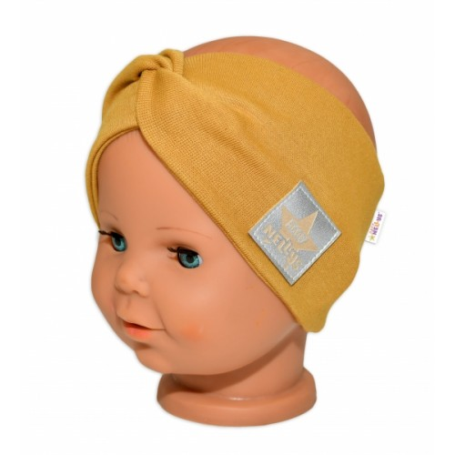 Baby Nellys Hand Made Bavlnená čelenka - dvojvrstvová, horčicová, 1-3roky - 1-3 roky