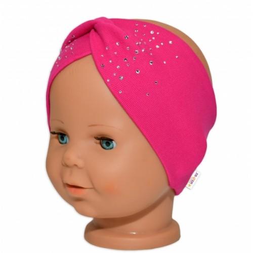 Baby Nellys Hand Made Bavlnená čelenka - dvojvrstvová, tm. růžový s kamínky, 80/98 - 80-98 (9-36m)