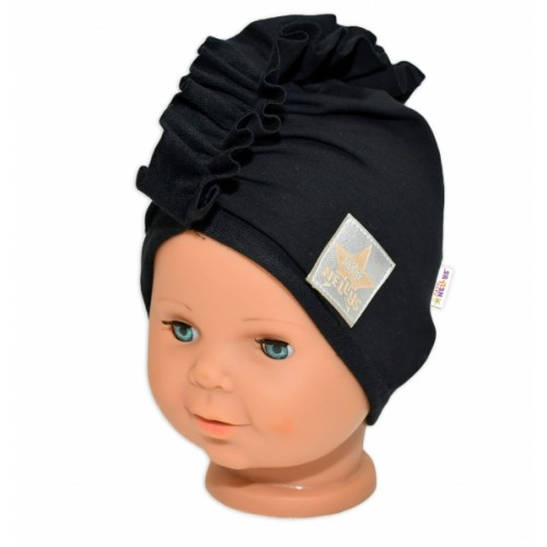 Baby Nellys Jarná /jesenná bavlnená čiapka - turban, čierna, 44-48 cm, 3-7let - 44/48 čepičky obvod