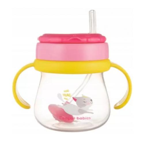 Canpol babies Hrnček športový so slamkou a závažím 250 ml, mačička - ružová