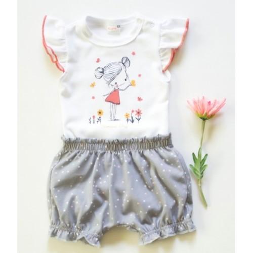 K-Baby 2 dielna detská súprava, body s kraťasky Girl, veľ. 80 - šedá - 80 (9-12m)