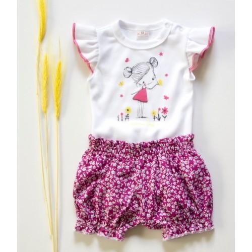 K-Baby 2 dielna detská súprava, body s kraťasky Girl - fuchsie - 62 (2-3m)