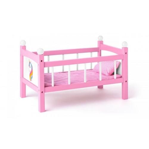 Woody Drevená postielka pre bábiky - růžová s jednorožcom