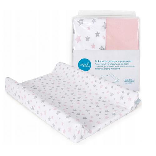 Ceba baby Poťah na prebaľovaciu podložku 2ks, ružová, ružové hviezdy, 50x70-80cm
