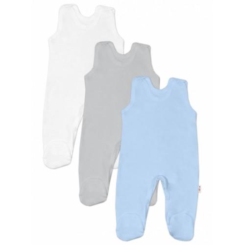 Baby Nellys Dojčenská chlapčenská sada dupačiek BASIC - modrá, šedá, biela - 3 ks, veľ. 68 - 68 (4-6m)