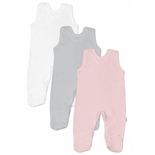 Baby Nellys Dojčenská dieučenská sada dupačiek BASIC - růžová, šedá, biela-3 ks, veľ. 68 - 68 (4-6m)