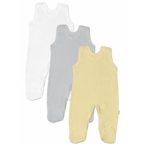 Baby Nellys Dojčenská neutrálna sada dupačiek BASIC - žltá, šedá, biela - 3 ks, veľ. 68 - 68 (4-6m)