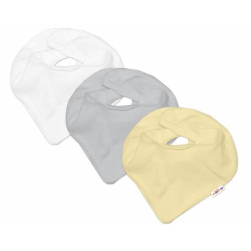 Baby Nellys Dojčenská neutrálne sada šiatků na krk  BASIC - žltá, sivá, biela - 3 ks - univerzální