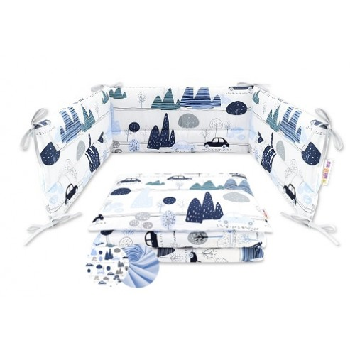 3-dielna sada mantinel s obliečkami Baby Nellys - Autá v aleji, modrá - 120x90