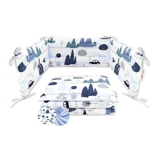 3-dielna sada mantinel s obliečkami Baby Nellys - Autá v aleji, modrá. roz. 135x100 cm - 135x100