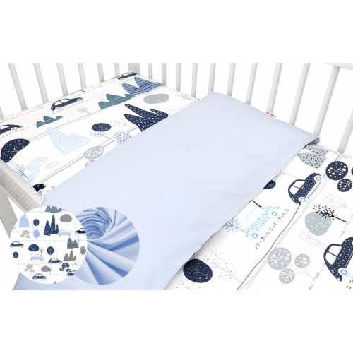 2-dielne bavlnené obliečky Baby Nellys - Auta v aleji, modrá, roz. 135x100cm - 135x100