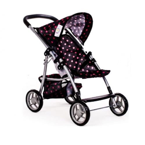 Športový kočík Doris pre bábiky s bodkami - čierny, růžové bodky