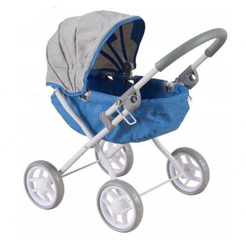 BABY MIX Kočík pre bábiky - modro,sivý