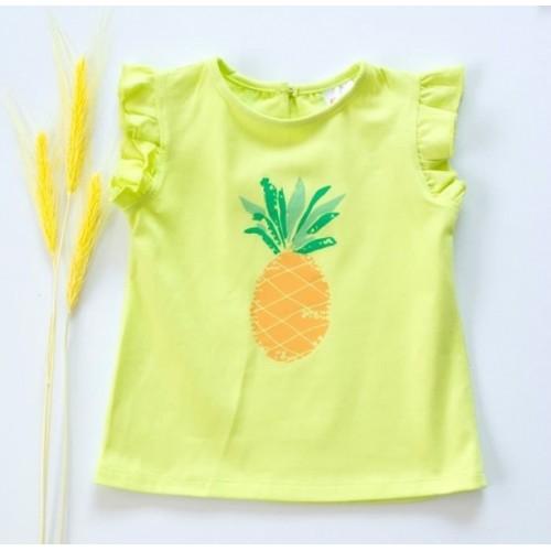 K-Baby Detské bavlnené tričko, krátky rukáv - Ananás - limetka  - 68 (4-6m)