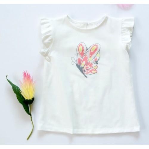 K-Baby Detské bavlnené tričko, krátky rukáv - Motýl - smotanové - 68 (4-6m)