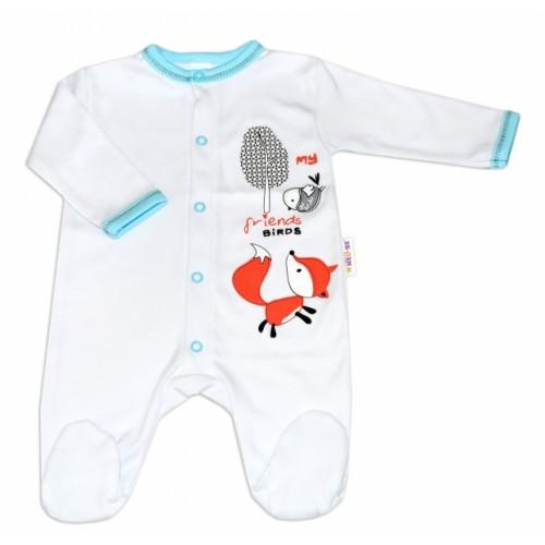 Baby Nellys Bavlnený dojčenský overal Fox - biely - 56 (1-2m)
