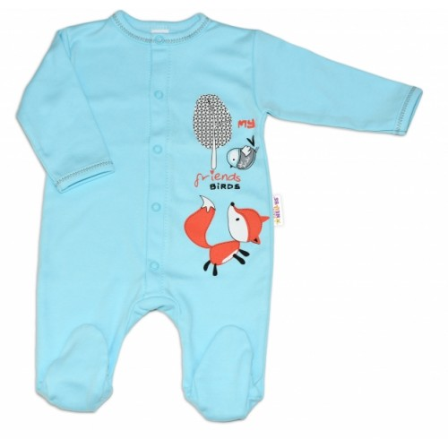 Baby Nellys Bavlnený dojčenský overal Fox - tyrkysový - 56 (1-2m)