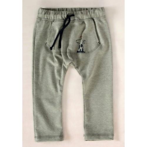 K-Baby Štýlové detské nohavice, tepláky s klokanim vreckom - šedé - 62 (2-3m)