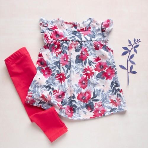 K-Baby Moderné tunika a legíny Kvety - červené, vel. 74 - 74 (6-9m)