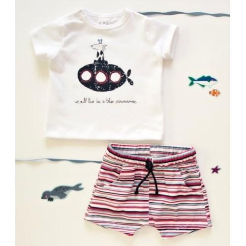 K-Baby 2 dielna detská súprava, triko s kraťasky For Boy - proužky červené, modré, veľ. 80 - 80 (9-12m)