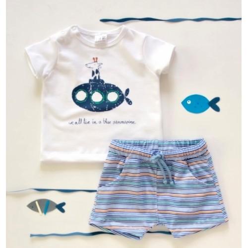 K-Baby 2 dielna detská súprava, triko s kraťasky For Boy - proužky modré, zelené, veľ. 86 - 86 (12-18m)