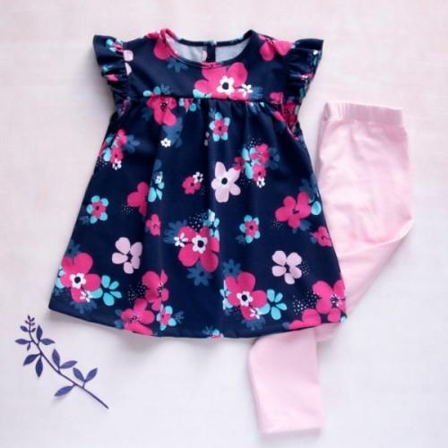 K-Baby Moderné tunika a legíny Květiny v granátové, sv. rúžové legíny - 68 (4-6m)