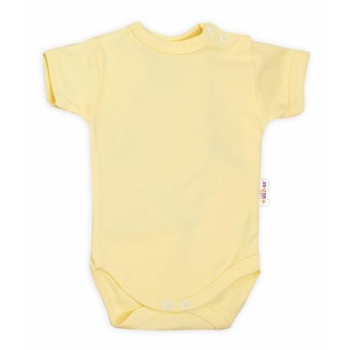 Baby Nellys Bavlnené body kr. rukáv - žlté - 62 (2-3m)