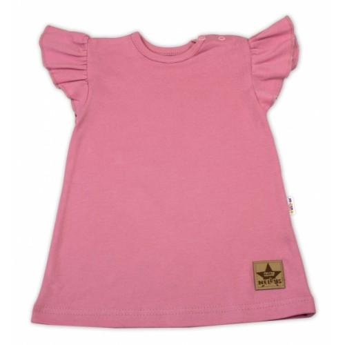 Baby Nellys Bavlnené šaty Nikolka s volánikmi, krátky rukáv - starorůžové - 68 (4-6m)