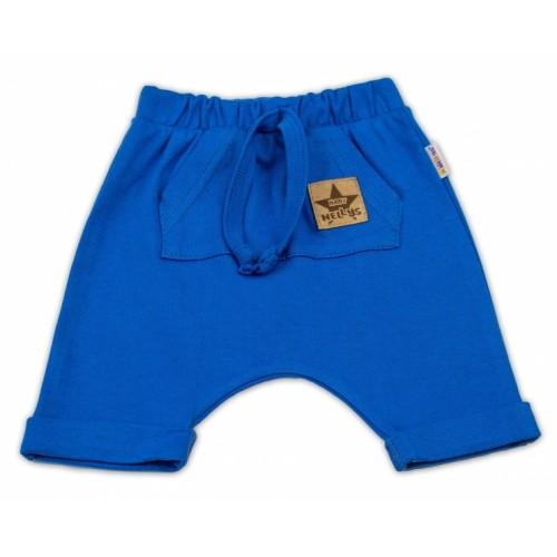 Baby Nellys Bavlnené kraťasy Baggy s klokaním vreckom - modré, veľ. 80 - 80 (9-12m)