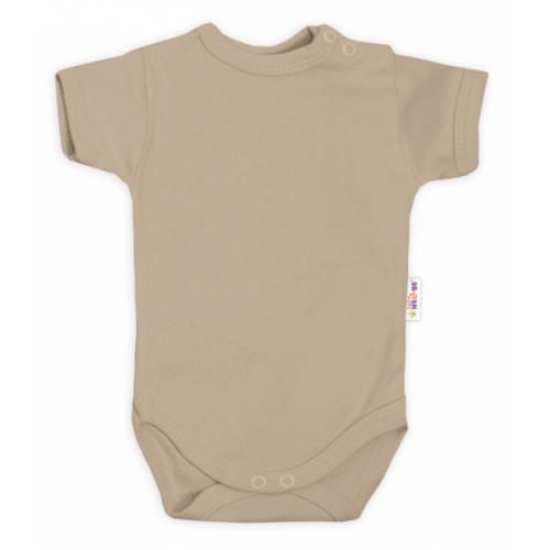 Baby Nellys Bavlnené body kr. rukáv - béžové, veľ. 80 - 80 (9-12m)