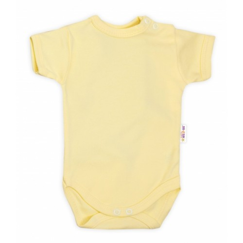 Baby Nellys Bavlnené body kr. rukáv - žlté, veľ. 68 - 68 (4-6m)