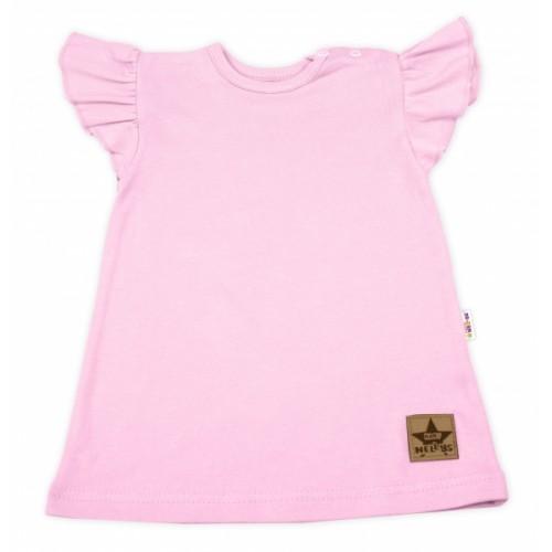 Baby Nellys Bavlnené šaty Nikolka s volánikmi, krátky rukáv - sv. ružové, veľ. 80 - 80 (9-12m)