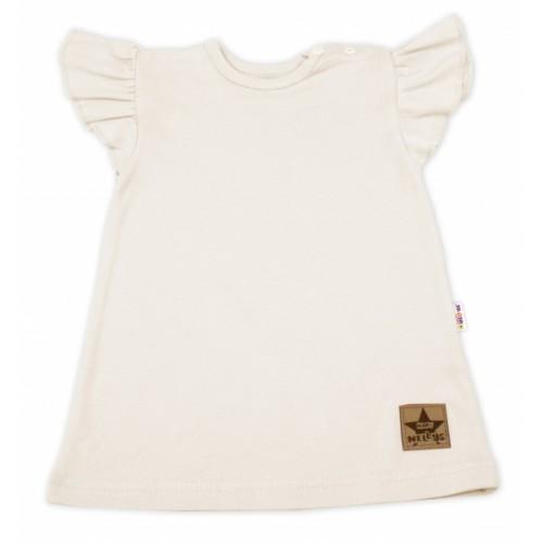 Baby Nellys Bavlnené šaty Nikolka s volánikmi, krátky rukáv - smotanová, veľ. 98 - 98 (24-36m)