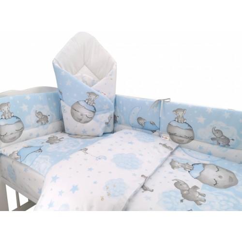 3-dielna sada mantinel s obliečkami + zavinovačka zadarmo - Baby Elephant, modrý - 120x90