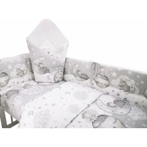 3-dielna sada mantinel s obliečkami + zavinovačka zadarmo - Baby Elephant,šedá,135x100cm - 135x100