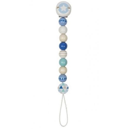 Goki Drevený retiazka na cumlík 17 cm - Hviezdička, modro-biela