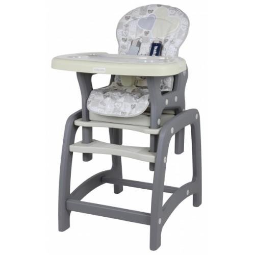 BABY MIX Jedálenská stolička 2v1 - Srdce Latte