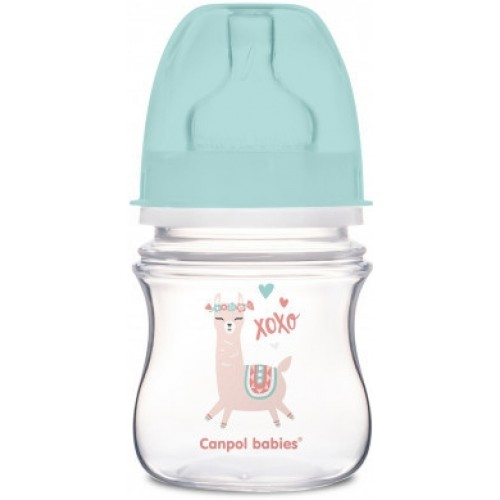 Canpol Babies Antikolik. fľaštička so širokým hrdlom, Exotic Animals, 120 ml - zelená