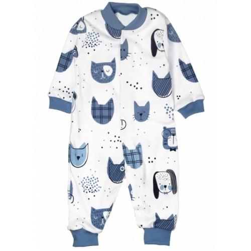 Baby Bavlnený overal bez šlapiek - ANIMAL, modrá, biela - 68 (4-6m)